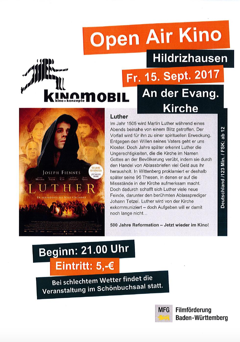 Open Air Kino Hildrizhausen am 15. September