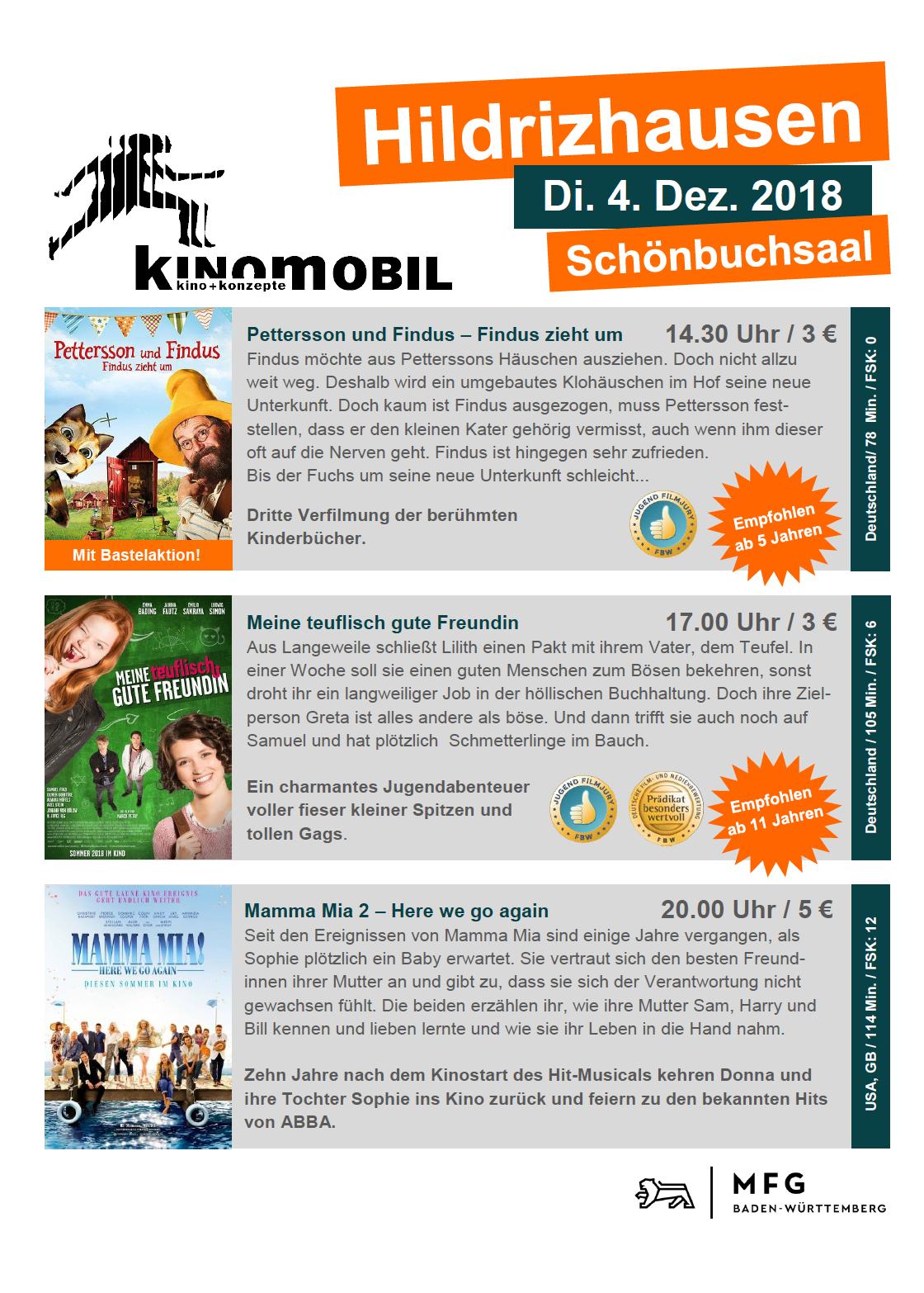 Das Kinomobil am 04. Dezember in Hildrizhausen
